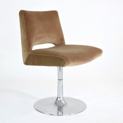 Aluminium Velvet Tulip Chair, France 1970s