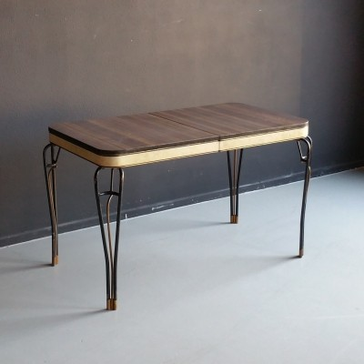 Midcentury extendable table on wrought iron legs