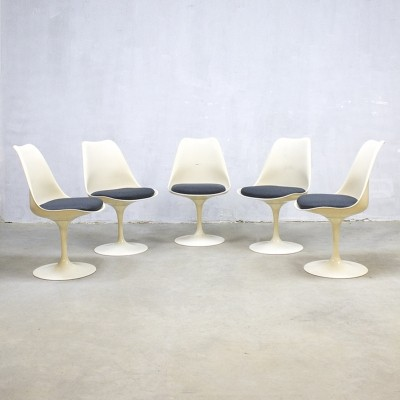 Set of 5 Tulip dining chairs by Eero Saarinen for Knoll International, 1950s