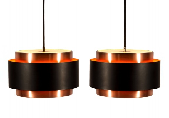 Pair of Saturn hanging lamps by Jo Hammerborg for Fog & Mørup, 1960s