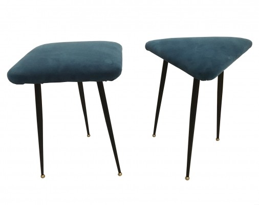 Pair of three-legged stools with seat in blue velvet, 1950s