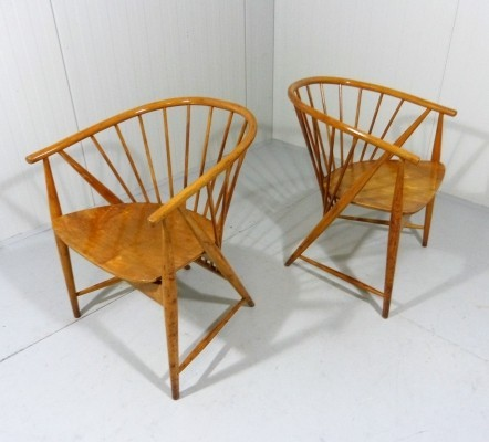 Pair of Sun Feather arm chairs by Sonna Rosen for Nässjö Stolfabrik, 1950s