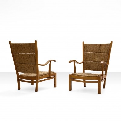 Bas Van Pelt High Back Armchairs in Beech & Wicker, the Netherlands 1940s
