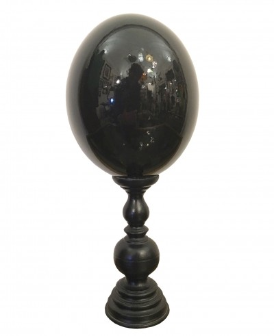 Black glass egg with wooden support, 1980s