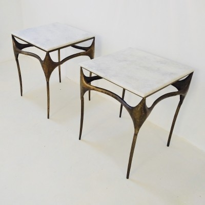Pair of sculptural metal & marble side tables, 1990s