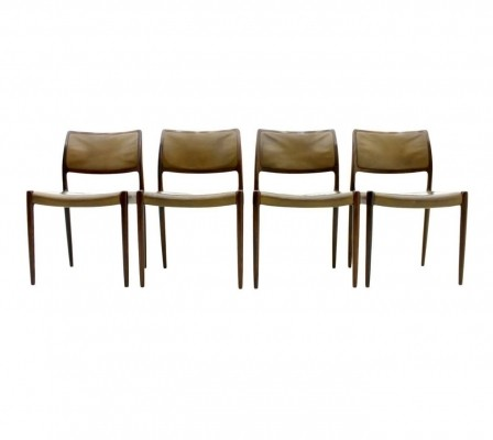 Set of 4 Model 80 dining chairs by Niels O. Møller for J L Møller, 1960s