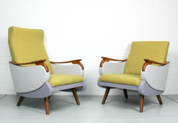 Set lounge chairs woolfelt in 3 pastel colors, 1960s