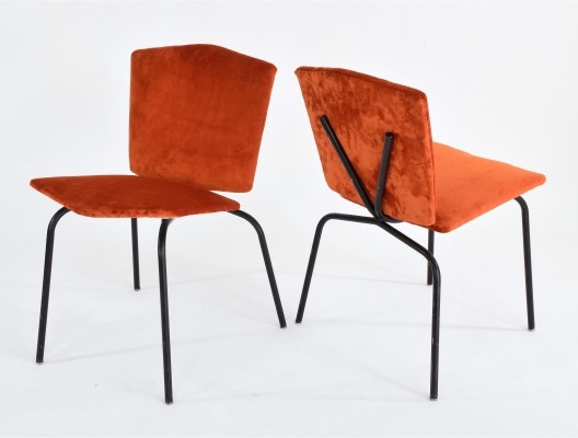 Mid-Century French Velvet Chairs, 1960-1970s
