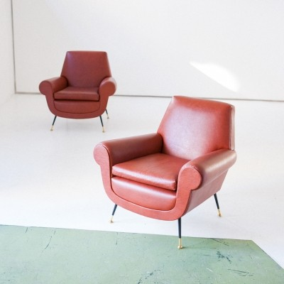 Italian Mid-Century Modern Faux Leather Armchairs by Gigi Radice for Minotti