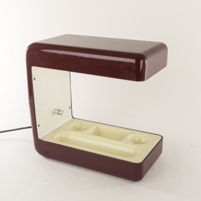 Isos desk lamp in burgundy by Giotto Stoppino for Tronconi, 1970s