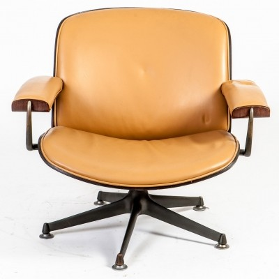 Rosewood & Leather Lounge Chair by Ico Parisi for MIM Roma