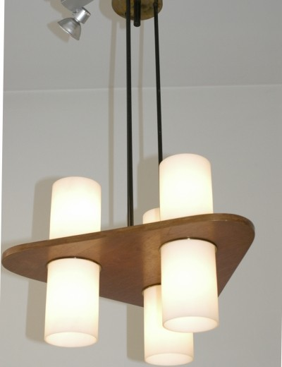 Italian Midcentury Hanging Lamp with opaline glass Tubes