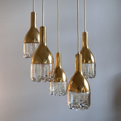 Glass & Brass Hanging Lamp by Hillebrand, 1960s