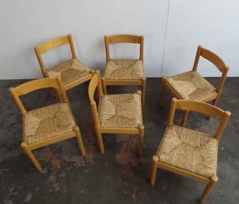 Set of 6 Carimate dining chairs by Vico Magistretti for Cassina, 1960s