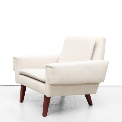 White woolen Danish design armchair by Ryesberg Mobler