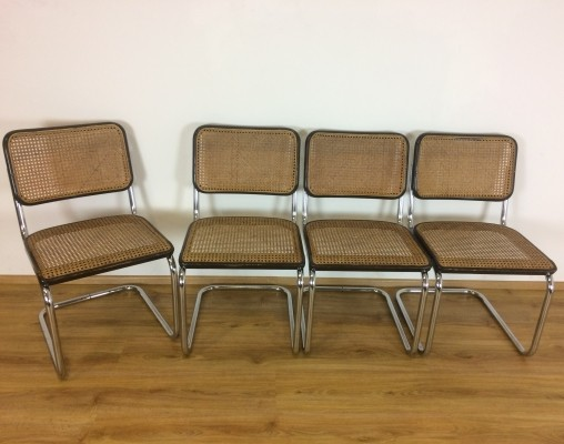 Set of four brown original Thonet S32 by Marcel Breuer