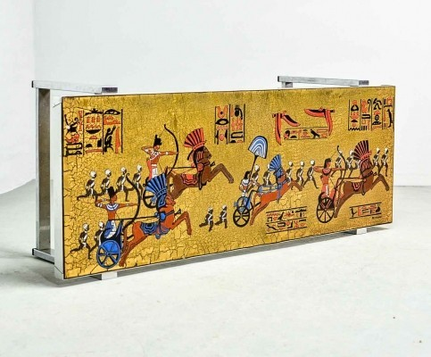 Fine Egyptian Decorated Coffee Table by De Nisco, 1970s
