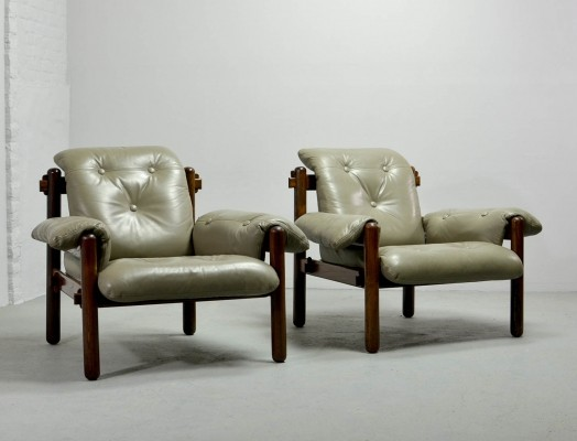 Exquisite Brazilian Jacarandá Wooden Lounge Chairs by Jean Gillon for Wood Art