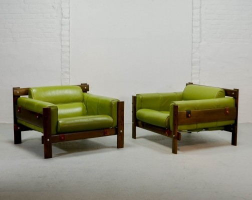 Rare Pair of Imboya Wood Armchairs by Percival Lafer for L'atelier, 1970s