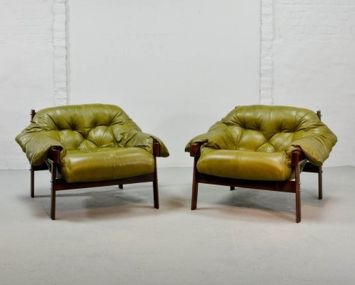 Beautiful Set of Olive Green Leather Lounge Chairs & Ottoman by Percival Lafer