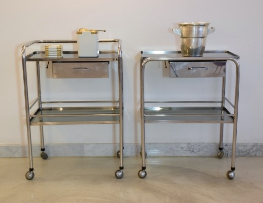 Medical cart with glass shelves & rollers, 1960s