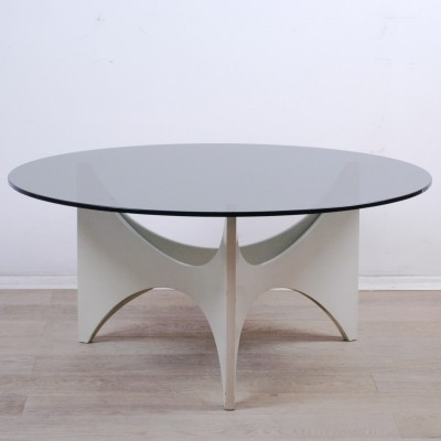 White laquered 1960s Coffee Table with Glastop