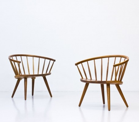 Pair of Arka lounge chairs by Yngve Ekström for Stolfabriks AB, 1950s
