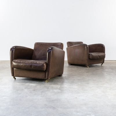 Set of 2 Piero Lissoni 'charmine' long arm chair for Baxter Italy, 1999