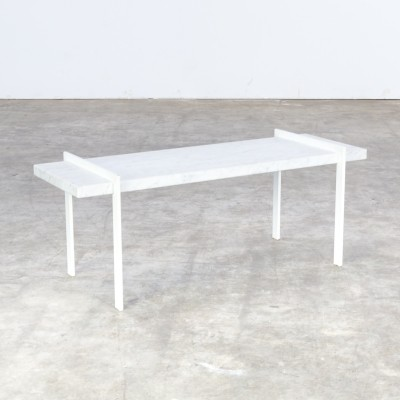 Mid century metal & bianco carrara marble side table, 1980s