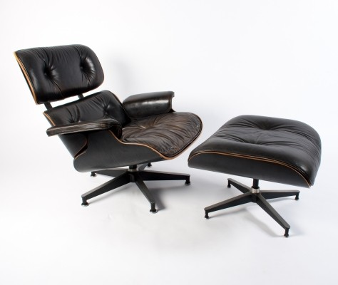 Black Lounge Chair + Ottoman by Charles & Ray Eames for Herman Miller, 1970s