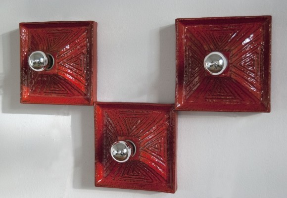 Set of 3 Ceramic Sconces for Kaiser Leuchten, 1960s