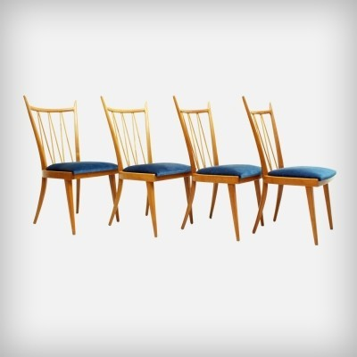 4 Dutch Cherry Wood Dining Chairs by A. A. Patijn for Zijlstra Joure, 1950s