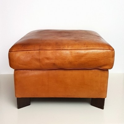 Cognac leather ottoman by Molinari, 1990s