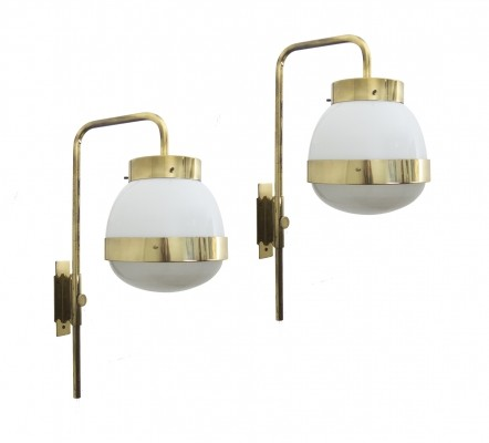 Set of 2 'Delta' early wall lights by Sergio Mazza for Artemide, 1960