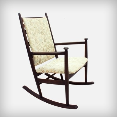 Swedish Dark Brown Stained Rocking Chair by Poul M. Volther for Gemla, 1950s