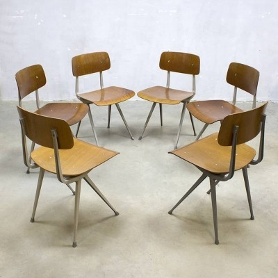 Set of 6 Result dining chairs by Friso Kramer for Ahrend de Cirkel, 1950s
