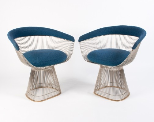 2x Vintage Warren Platner Arm Chair in blue wool, 1960s