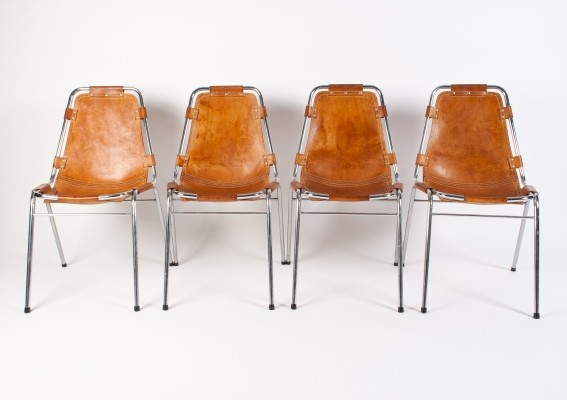 Set of 4 Les Arcs dinner chairs by Charlotte Perriand for Cassina, 1960s