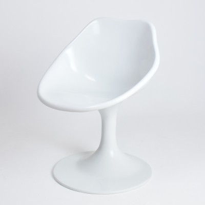 Unique white fiberglass space age armchair, 1970s