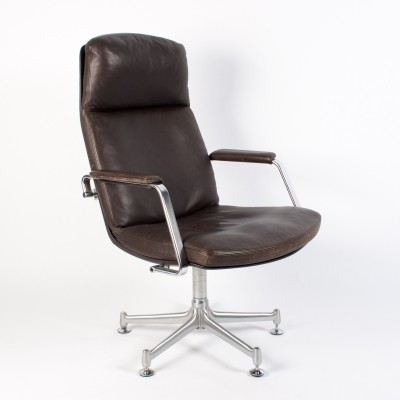 Dark Brown Leather 'FK 86' lounge chair by Fabricius & Kastholm for Kill International, 1980s