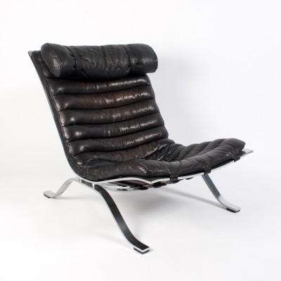 Black Buffalo Leather Ari Armchair by Arne Norell, 1970s