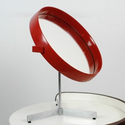 Red laquered Table Mirror by Uno & Östen Kristiansson