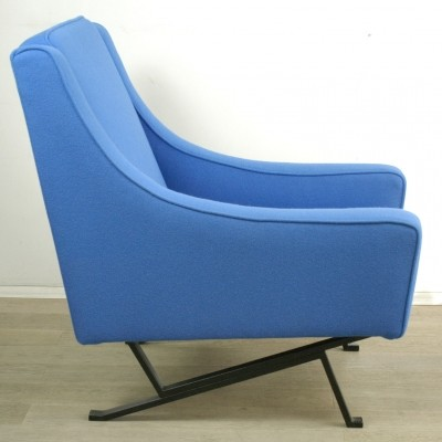Italian Lounge Chair with blue Kvadrat Fabric, 1960s