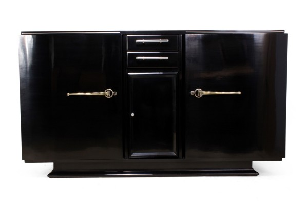 Art Deco Black Piano Lacquer Sideboard c1930