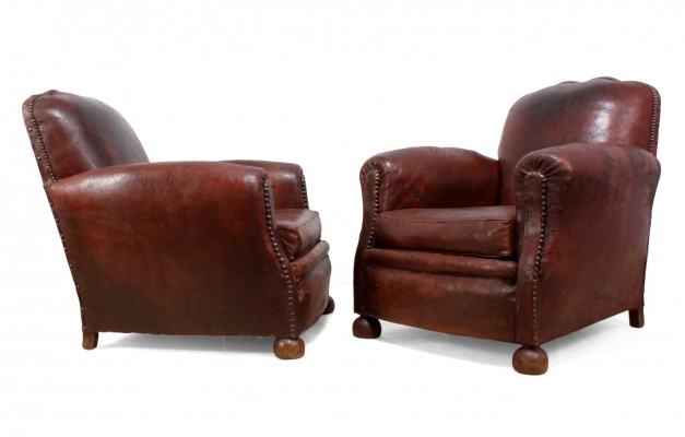 Pair of French Leather Club Chairs c1940