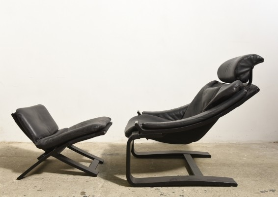 Black Cantilever Lounge Arm Chair & Footstool by Ake Fribytter for Nelo, Sweden