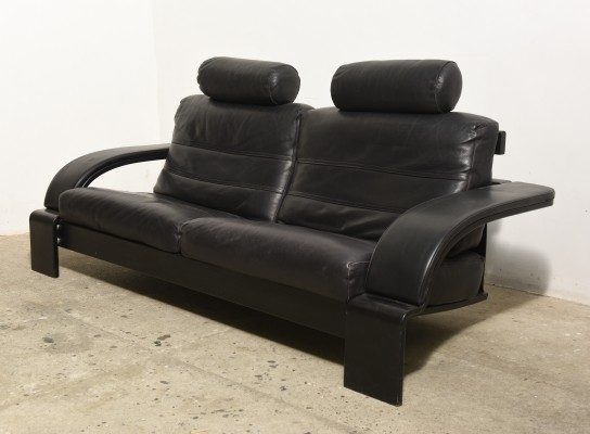 Large Midcentury Modern Black Leather Lounge Sofa, Italy 1980s