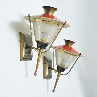 Pair of Lanternes wall lamps by Lunel, 1950s