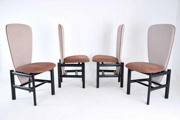 Set of 4 Dutch high back mid-century oak dining chairs, 1950s