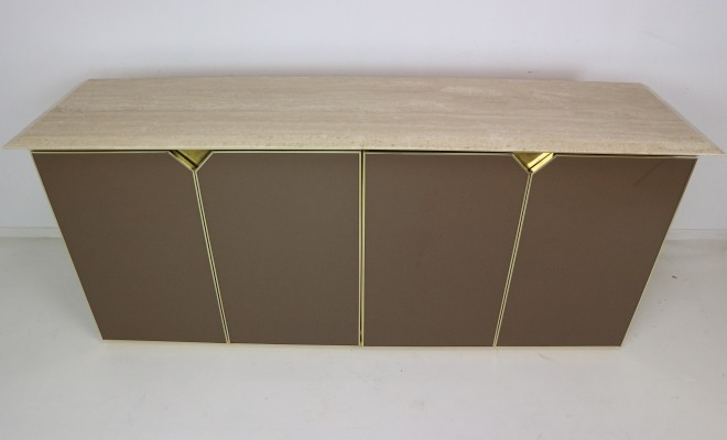 Sideboard with Travertine Top by Belgo Chrom, 1970s